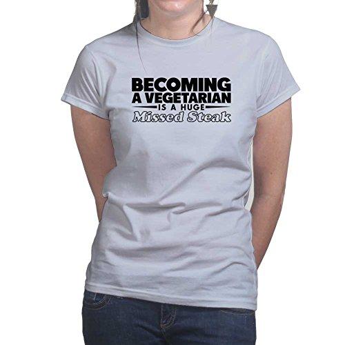 Womens Vegetarian Huge Missed Steak Funny Sarcastic Ladies T Shirt (Tee, Top) Grey