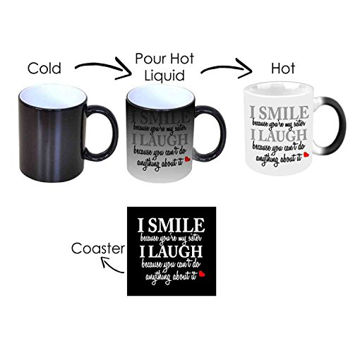 Rakhi Gifts for Sister Combo, Funny Teasing Sister Magic Mug with Coaster Gifts for Sister Set of 2 by Giftsmate