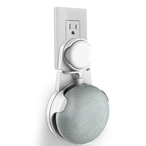 Outlet Wall Mount Stand Hanger for Google Home Mini Voice Assistants, Compact Holder Case Plug in Kitchen Bathroom Bedroom, Hides the Google Home Mini Cord (White)