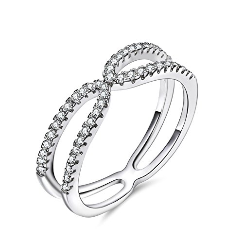 Aienid Damen Ring Versilbert Jubiläumsringe für Frauen Doppel Bypass Hochzeit Band Breite:0.5CM Größe:49 (15.6) (Doppel-osmanischen)
