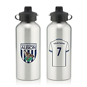 Official Personalised West Bromwich Albion Aluminium Water Bottle with Spring Hook (600ml) - Silver - FREE PERSONALISATION