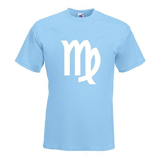KIWISTAR - Jungfrau Sternzeichen T-Shirt in 15 verschiedenen Farben - Herren Funshirt bedruckt Design Sprüche Spruch Motive Oberteil Baumwolle Print Größe S M L XL XXL Himmelblau