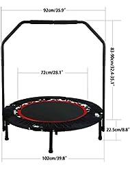mymotto Fitness Sport Trampolin Einstellbare Handlauf Trampolin Garten/Indoor Trainingtrampolin Durchmesser 102 x H 112.5cm