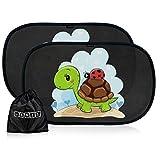 Tendine parasole auto per bambini e neonati - Parasole bambini accessori auto - Protezione ottimale raggi UV 80g/m²- 2 pezzi 51 * 31cm - Nere oscuranti con animali