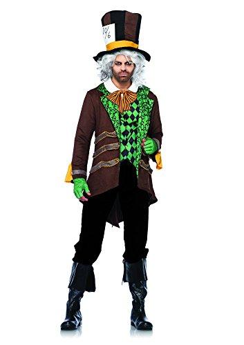 Leg Avenue 85317 - Classic Mad Hatter Kostüm Set, 5-teilig, Größe XL, braun (Sexy Halloween Kostüme Für Männer)