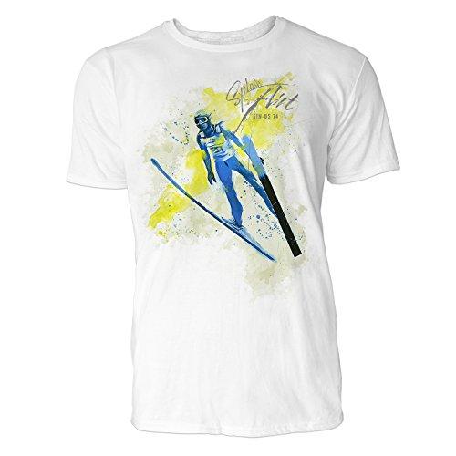 us Art ® Herren T Shirt ( Weiss ) Crewneck Tee with Frontartwork (Kleinkind Flug Anzug)