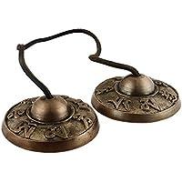 """Campana tibetana de Zap Impex® Tingsha para la meditación. 2,5"""". 7símbolos de la suerte en relieve. Buen regalo de Navidad"""