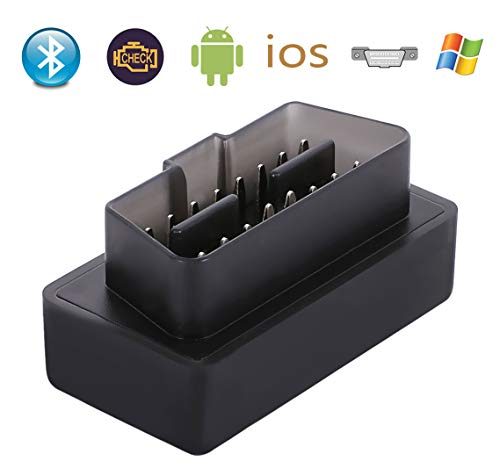 Schwarz Mini Standard Bluetooth 4.0 Scanner ELM327 OBD II Interface Auto Diagnosegerät (Deutschland Lagerhaus) (Bluetooth 4.0 für Android und IOS, Schwarz) -