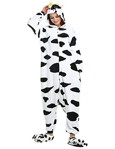 ShiyiUP Tier Schlafanzug Lustig Jumpsuit Cosplay Kostüm Overall Halloween Erwaschene Damen Herren Kuh(Ohne Schuhe),L
