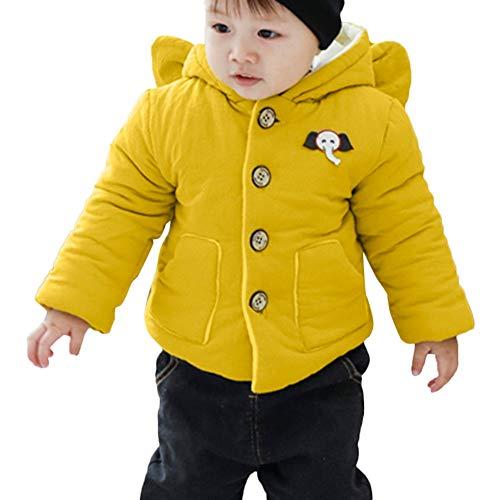 ♂vovotrade♀ giacca per bambini a maniche lunghe in tinta unita, bambina bambino in cotone elefante con cappuccio giacca in cotone con bottoni spessi caldo grande cappello carino orecchio cappotto