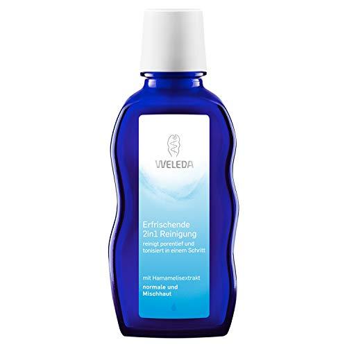 WELEDA 2in1 Erfrischende Reinigung, Naturkosmetik Gesichtswasser und Make-up Entferner zur porentiefen Reinigung und Pflege von Gesicht, Haut und Hals (1 x 100 ml) (Haut-pflege-schwamm)