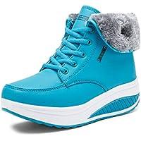 LIANGXIE Womens Lace Up Wedge Ankle BootieWinter New Women Plus Heat Velvet Snow Boots Antideslizante Thick Bottom High para Ayudar a Calentar los Zapatos de algodón (Color : Azul, tamaño : 36)