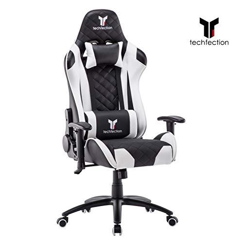 Techfection Gaming Stuhl Geeignet für Unterhaltungs/Büroarbeit Qualitativ hochwertiger Gamingstuhl/Bürostuhl Genaue Verarbeitung Ergonomischer Einstellbare Racing Stuhl(Weiß)