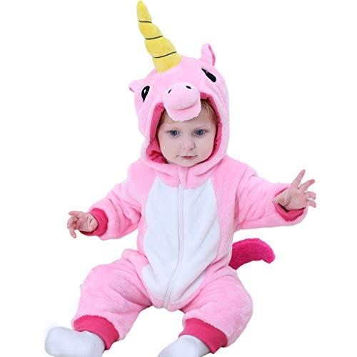 Bebé Capucha Mameluco Mono Franela Unicornio Pelele Trajes Infantil Otoño Pijama Niños Niñas Jumpsuit Ropa Rosado 66cm