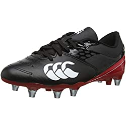 Canterbury Men's Phoenix Raze Soft Ground Rugby Boots, Black/True Red, 8 42.5 EU