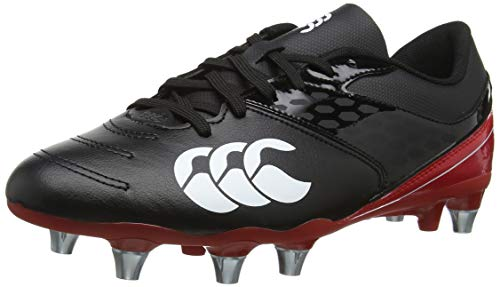 Canterbury Phoenix Raze Soft Ground Scarpe da Rugby Uomo, Nero (Black/ True Red 989), 44.5 EU