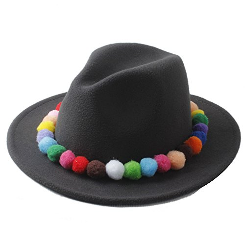 LLP-HAT Mode Frauen 100% Wolle Winter Filz Fedora Hut Mit Niedlichen Bunten Glühbirne Laday Chapeau Panama Hüte Mädchen Jazz Trilby Gangster Cap (Farbe : 8, Größe : 57-58 cm) (Mädchen Für Riddler Kostüm)