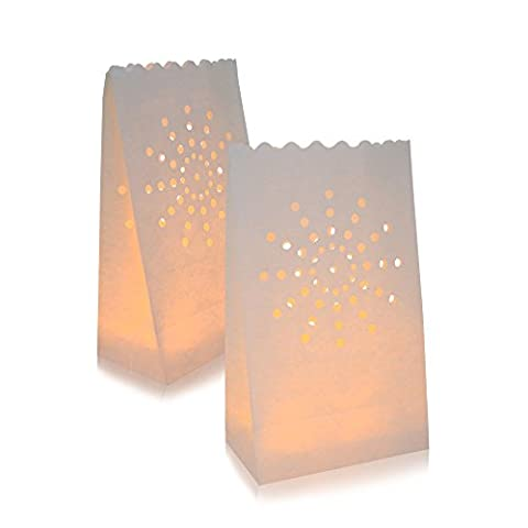 30 Packs Luminary Paper Lantern, Candle Tealight Tea Light Bag Bags - Flame Resistant Paper for BQQ Party Wedding Reception Party and Event