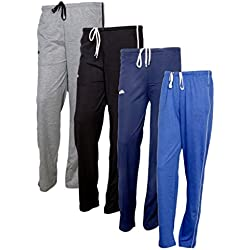 IndiWeaves Women's Premium Cotton Lower with 1 Zipper Pocket and 1 Open Pocket(Pack of 4)_Grey::Blue::Blue::Blue-40