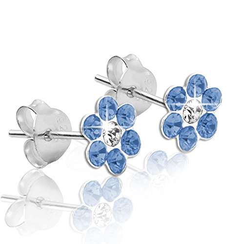 1 paire Soul-cats® boucles d'oreille 925 fleurs en argent blanc rouge vert bleu des enfants de roses bleu clair