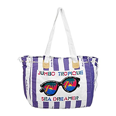 Retro Stripy Canvas Beach Bag
