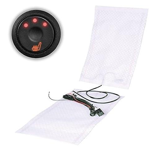 Kit comprenant 2tapis chauffants en carbone et 2 interrupteurs à 3niveaux de réglages et à LED Convient pour siège de voiture de toute marque Pour deux