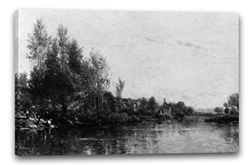 Printed Paintings Leinwand (80x60cm): Charles-François Daubigny - Die Ufer der Oise -