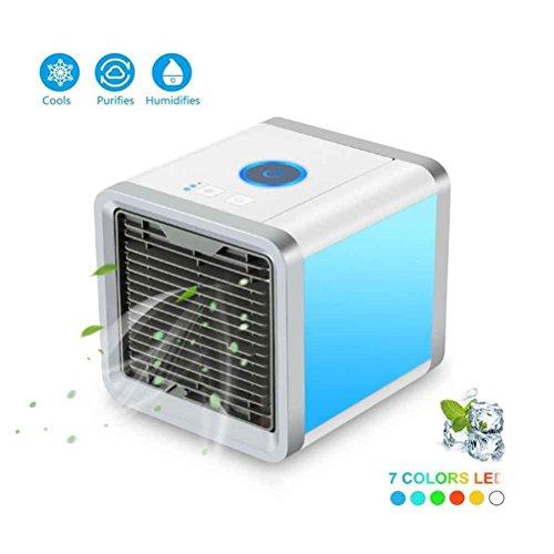 GHQ Refrigerador De Aire Portátil Del Acondicionador De Aire Del Mini Refrigerador Del Aire Con El Deshumidificador De La Sala De Enfriamiento De Agua, Luces De La Noche Del LED De 7 Colores