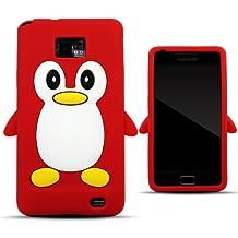 Zooky® rojo silicona pingüino FUNDA / CARCASA / COVER para Samsung Galaxy S2 / S2 PLUS (i9100 / i9105)
