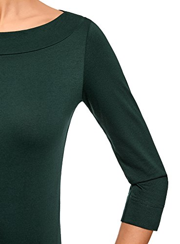 oodji Collection Donna T-Shirt con Maniche a 3/4 Verde (6900N)