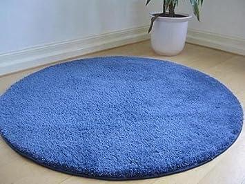 Teppich rund hochflor  Hochflor Shaggy Teppich Palace Blau Rund in 7 Größen: Amazon.de ...