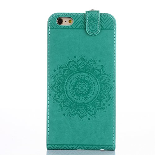 Hülle für iPhone 6S Plus, Tasche für iPhone 6 Plus, Case Cover für iPhone 6 Plus, ISAKEN Blume Schmetterling Muster PU Leder Flip Cover Case Ledertasche Handyhülle Tasche Case Etui Schutzhülle Hülle m Dessin Blume Grün