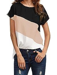 d8b6aa9486de4 Bekleidung Longra Damen Sommer T-Shirt Chiffonbluse Kurzarm Shirts Loose  Farbblock Tunika Bluse Damen Bluse Elegant Freizeit-Bluse…