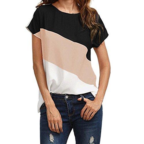 Bekleidung Longra Damen Sommer T-Shirt Chiffonbluse Kurzarm Shirts Loose Farbblock Tunika Bluse Damen Bluse Elegant Freizeit-Bluse Sommer Party Oberteile Hemdbluse T-Shirt Tops (Pink, S) (Front-tank Geraffte)