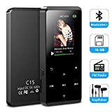 Bluetooth MP3 Player 16GB, Macrourt Mini Sport Mp3 Player mit 1.77 Zoll Display, FM-Radio, HiFi Soundeffekte, bis zu 55 Stunden Wiedergabe, unterstützt bis zu 128GB SD Karte (Schwarz)