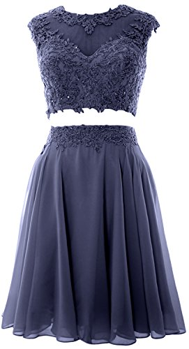 MACloth Women Vintage 2 Piece Prom Homecoming Dress Lace Wedding Party Gown (32, Steel Blue) (Womens Blue Prom Dresses)