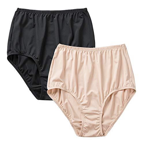 DELIMIRA Damen Slips Atmungsaktive Taillenslip High Cut Unterwäsche, 2er Pack Schwarz/Beige M