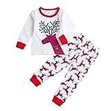 Togelei Kinder Long Sleeve Deer Print Tops + Gestreifte Hosen Weihnachten Set Kleinkind Unisex O-Ausschnitt Langarm Baumwolle Mode Weihnachten Set cute Casual Kinder Kleidung