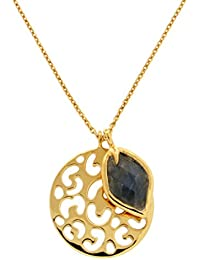 Missoma 18ct Gold Plated Maiya Round Pendant Necklace with Labradorite of 47cm