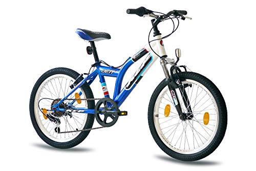 KCP 20 Zoll Mountainbike Kinderfahrrad - JETT SF Weiss blau - Hardtail Kinder Fahrrad für Jungen und Mädchen mit 6 Gang Shimano Schaltung - für Kinder zwischen 6-9 Jahre und 1,20-1,40m Körpergröße -