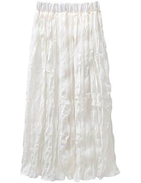 Mujer Falda De Gasa Largo Falda Plisado Cintura Elástica Falda Playa / Blanco