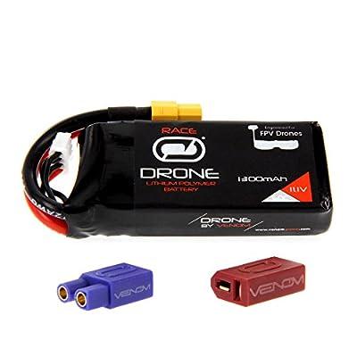 Venom 50C 3S 1300mAh 11.1V Drone Racing LiPo Battery with Universal 2.0 Plug (XT60/Deans/EC3)