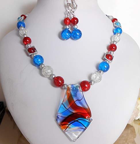 SET Halskette/Collier mit Glas Anhänger + Ohrhänger Rot Blau Weiß Crashglas/Unikat ღ A1314