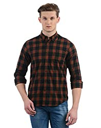 Indian Terrain Mens Checkered Slim Fit Casual Shirt (ITA17SHK142-8907633723042_Black_X-Large)