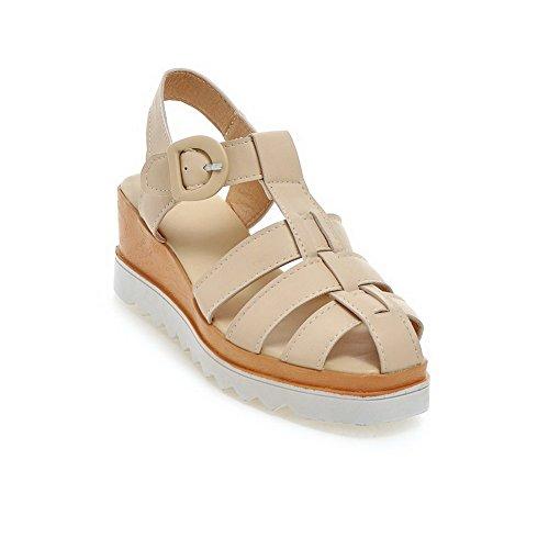 VogueZone009 Donna Finta Pelle Scamosciata Punta Aperta Tacco Medio Heeled-Sandals Beige