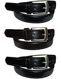 "Men's Belt Set : 3 Belts 2 Black & 1 Brown : Waist 28"" - 48"""