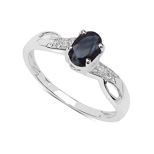 La Collezione di Anello Zaffiro: Anello Oro Bianco 9ct di Zaffiro nero naturale Anello di Fidanzamento, set diamanti sulle Spalle, regalo perfetto, Misura anello 17,5