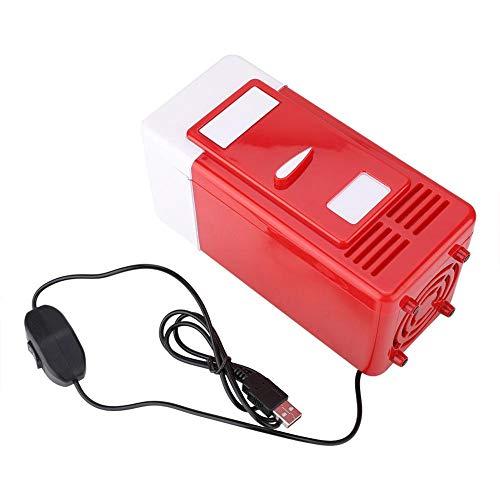 Denash USB-Minikühlschrank - Tragbarer kompakter persönlicher Kühlschrank - Getränkedose Elektrischer Kühler und Wärmer - 8-9 ° C Kühlung / 40-65 ° C Heizung(Rot-Weiss)