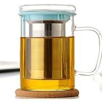 Wimports - Tazza da tè con infusore, filtro in acciaio INOX, 2 colori disponibili, Vetro, blu, 450 ml