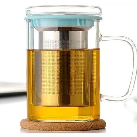 Wimports taza de té de cristal con infusor   colador de acero inoxidable   2colores disponibles, vidrio, azul, 450 ml